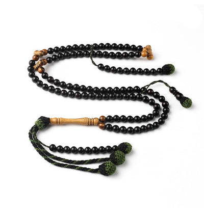 BasmalaBeads African Ebony with Olive Accents 99 Count Prayer Beads