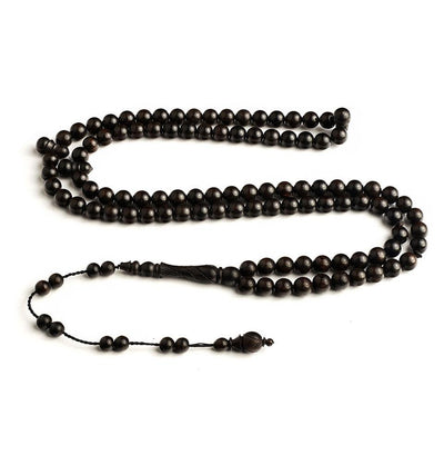 BasmalaBeads African Ebony Wood with Engravings 99 Count Prayer Beads