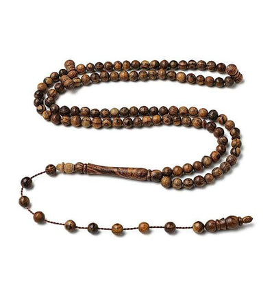 BasmalaBeads Bocote Wood with Engravings 99 Count Prayer Beads