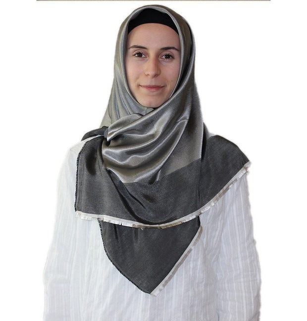 Bonjela scarf Grey Bonjela Twill Large Square Hijab Scarf Reversible Grey