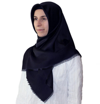 Bonjela scarf Navy Blue Bonjela Twill Large Square Hijab Scarf Reversible Navy Blue