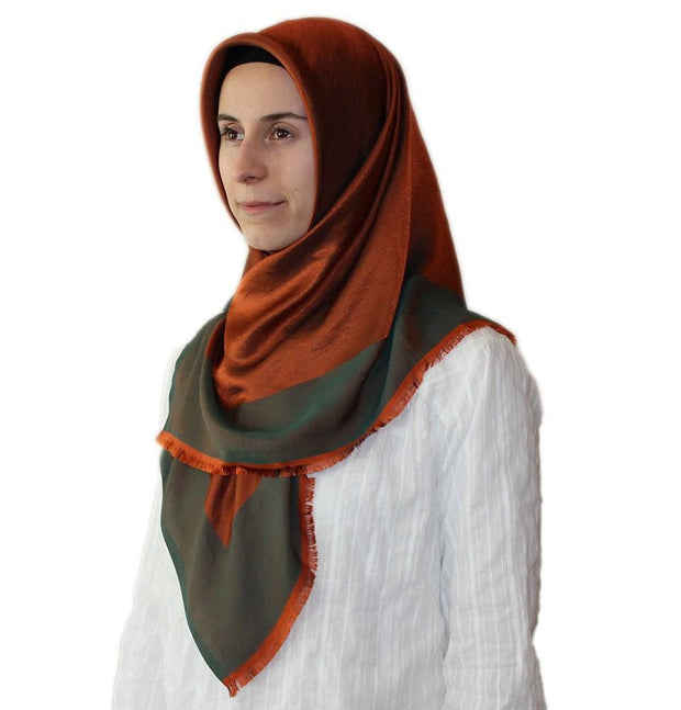 Bonjela scarf Orange / Green Bonjela Twill Large Square Hijab Scarf Reversible Orange / Green