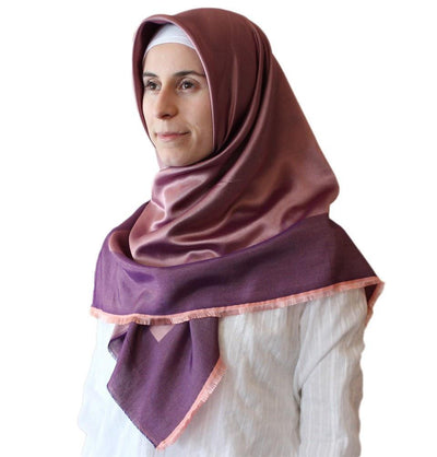 Bonjela scarf Purple / Pink Bonjela Twill Large Square Hijab Scarf Reversible Purple