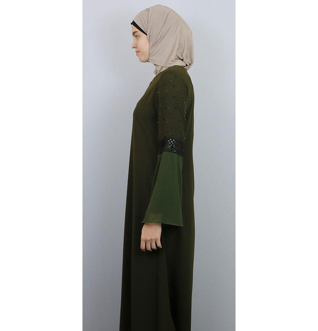 Damla Dress Beaded Ferace Abaya 071 Olive Green
