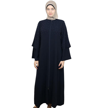 Damla Dress Beaded Ferace Abaya 309 Navy Blue