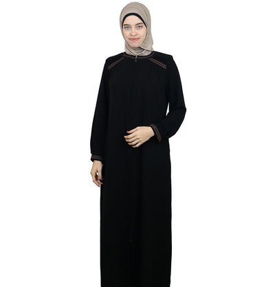 Damla Dress Embroidered Ferace Abaya 241 Black