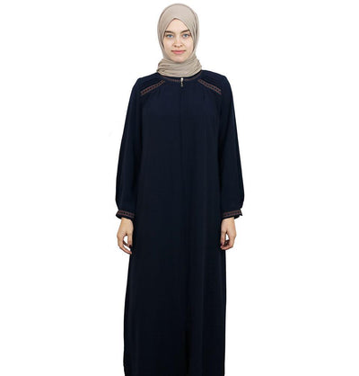 Damla Dress Embroidered Ferace Abaya 241 Navy Blue