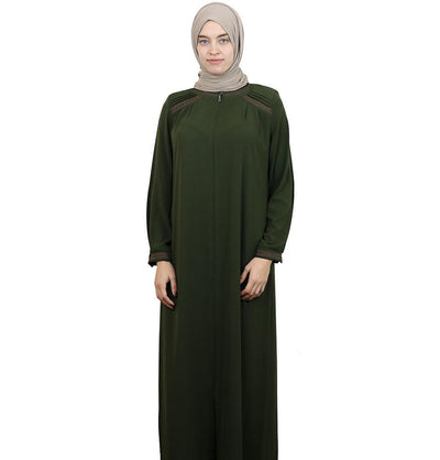 Damla Dress Embroidered Ferace Abaya 241 Olive Green