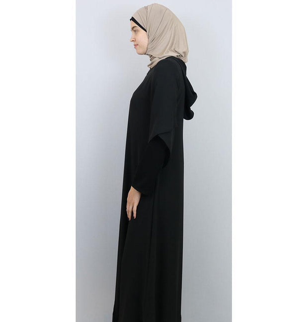 Damla Dress Hooded Ferace Abaya 063 Black