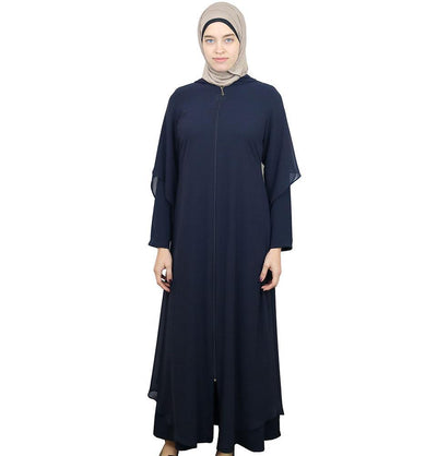 Damla Dress Hooded Ferace Abaya 063 Navy Blue