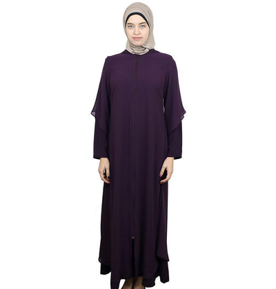 Damla Dress Hooded Ferace Abaya 063 Purple