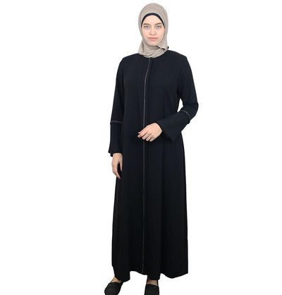 Damla Dress Rhinestoned Ferace Abaya 225 Black