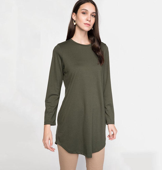 DeFacto Modest Knit Tunic J9963AZ Olive Green