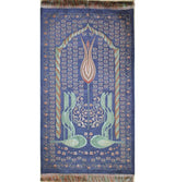Ensar Prayer Rug Blue / Multi Luxury Embroidered Chenille Thin Islamic Prayer Mat Gift Box Set - Rose Scented - Blue