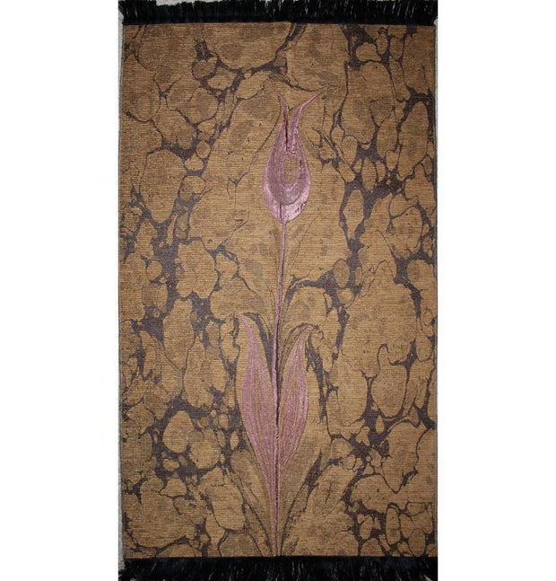 Ensar Prayer Rug Brown / Pink Woven Chenille Turkish Ebru Tulip Islamic Prayer Mat 286