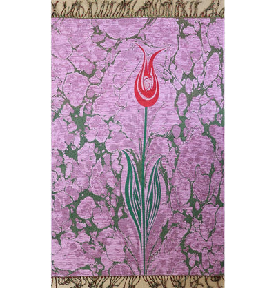Ensar Prayer Rug Pink Woven Chenille Turkish Ebru Tulip Prayer Mat Pink