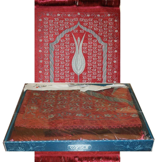 Ensar Prayer Rug Luxury Embroidered Chenille Thin Prayer Mat Gift Box Set - Rose Scented - Red - Modefa