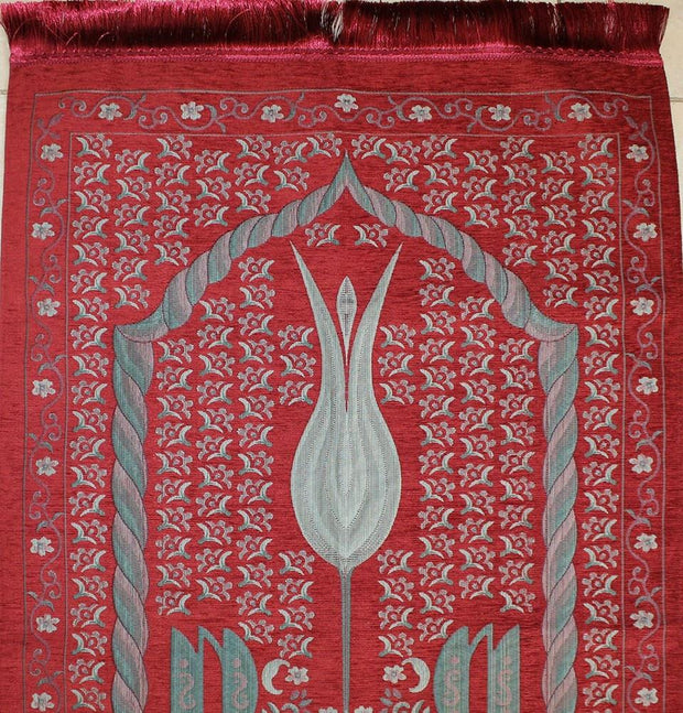 Ensar Prayer Rug Red / Grey Luxury Embroidered Chenille Thin Islamic Prayer Mat Gift Box Set - Rose Scented - Red