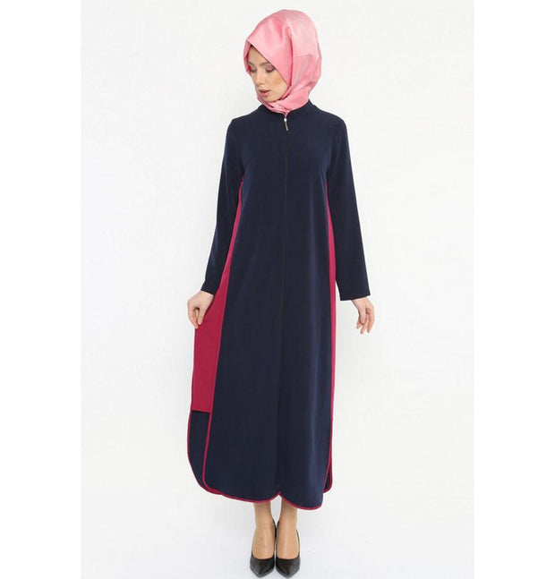 Etem Temur Dress Turkish Ferace Abaya Blue and Fuchsia ET 2112