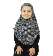 Firdevs Girl's Practical Hijab Scarf & Bonnet Geometric Black/White