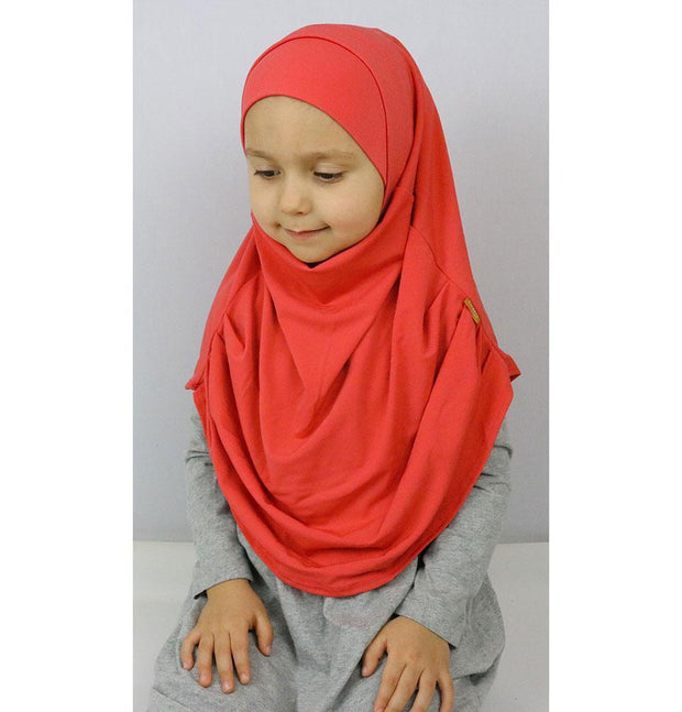 Firdevs Girl's Practical Hijab Scarf & Bonnet Coral Pink