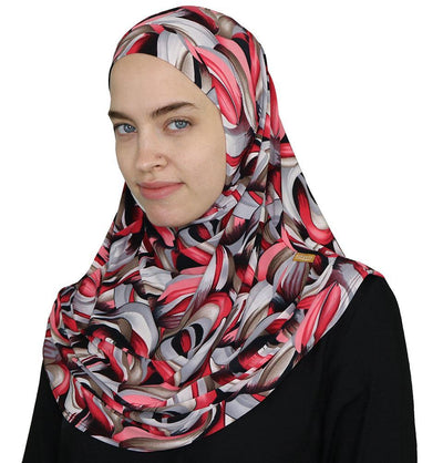 Firdevs Amirah hijab Red/Grey Firdevs Practical Amira Hijab Modern Curves - Red/Grey