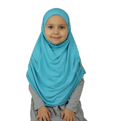 Firdevs Girl's Practical Hijab Scarf & Bonnet Turquoise