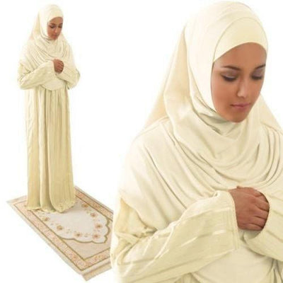 Firdevs Dress Amade Women's One-Piece Prayer Dress Creme Abaya Gift Set - Modefa