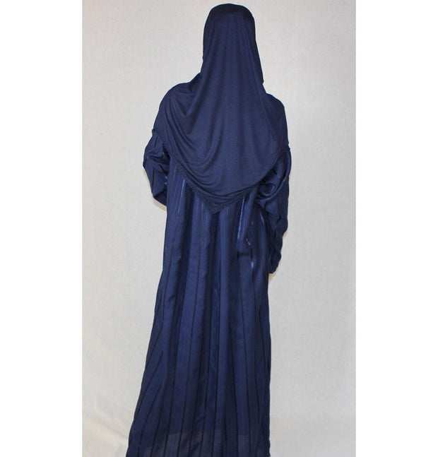 Firdevs Dress Amade Women's One-Piece Prayer Dress Navy Blue Abaya Gift Set - Modefa