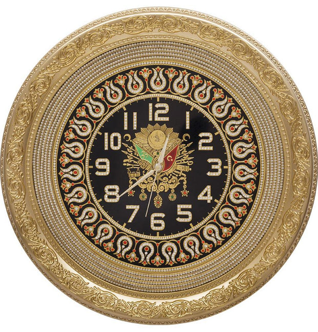 Gunes Islamic Decor Circular Clock 56cm Ottoman Coat of Arms 2262
