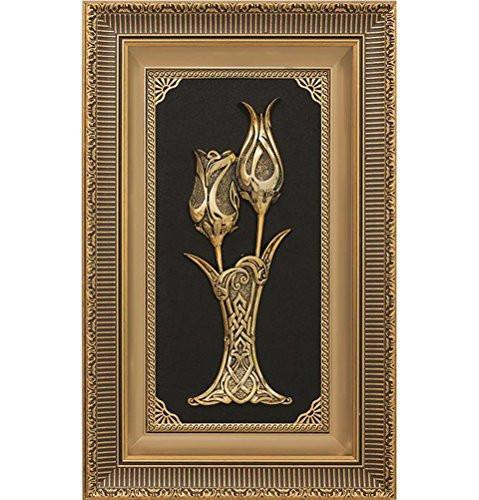 Gunes Islamic Decor Gold / Black Framed Art Lalegul Rose & Tulip 1388
