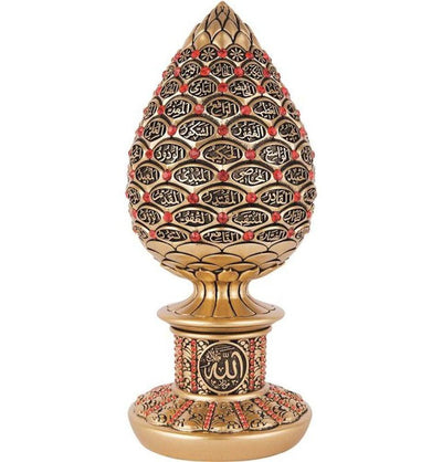 Gunes Islamic Decor Gold / Red Islamic Table Decor 99 Names of Allah Egg Gold/Red 1633