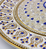 Gunes Islamic Decor Gold/White/Blue Islamic Decor Decorative Plate White & Blue 99 Names of Allah 33cm