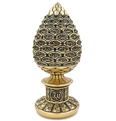 Islamic Table Decor 99 Names of Allah Egg Gold/Green 1634