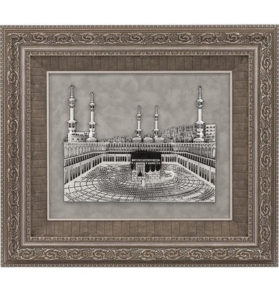 Gunes Islamic Decor Large Framed Art Kaba and Masjid al Haram 23.5 x 27.5in 1455 - Modefa