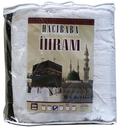Hacibaba Ihram Men's 100% Cotton Ihram Set of 2 Towels for Hajj and Umrah