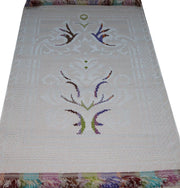 Hacibaba Prayer Rug Off-White Woven Rolled Hard Islamic Prayer Mat - Embroidered White