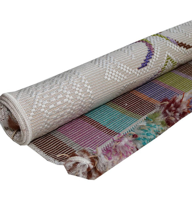 Woven Rolled Hard Islamic Prayer Mat - Embroidered White
