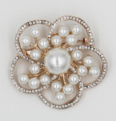 Handmade Hijab Pins Gold / White Turkish Jeweled Brooch Faux Pearl Daisy