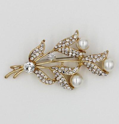 Handmade Hijab Pins Turkish Jeweled Brooch Tulip Bouquet with Faux Pearls - Modefa