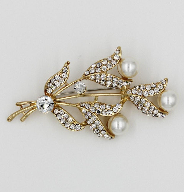 Handmade Hijab Pins Gold / White Turkish Jeweled Brooch Tulip Bouquet with Faux Pearls