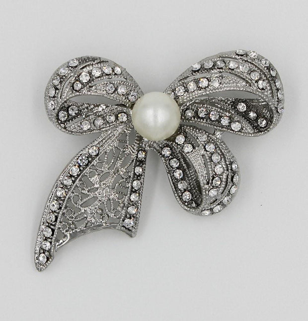 Handmade Hijab Pins Silver / White Turkish Jeweled Brooch Rhinestone Ribbon with Faux Pearl