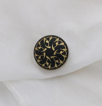 Handmade Magnetic pins Black / Gold Magnetic Hijab 'Pin' Black Vine