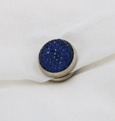 Handmade Magnetic pins Blue Bejeweled Magnetic Hijab 'Pin' - Dark Blue