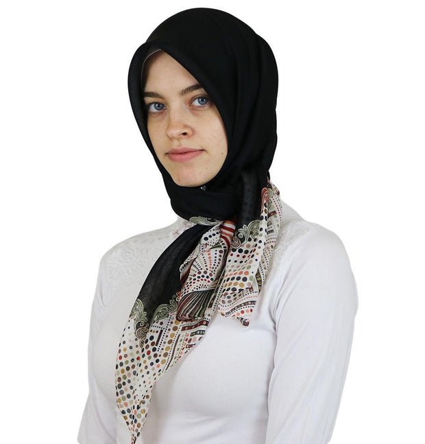 Ipekce scarf Black Turkish Yazma Square Hijab - Solid Black