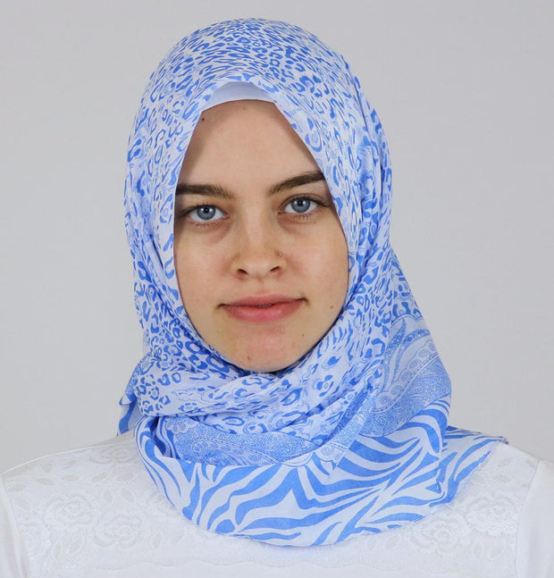Ipekce scarf Blue Turkish Yazma Square Hijab - Leopard Blue