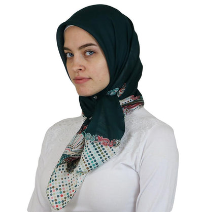 Ipekce scarf Turkish Yazma Square Hijab - Solid Green - Modefa