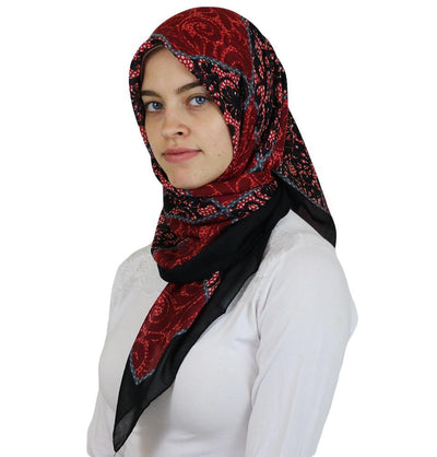 Ipekce scarf Red / Black Turkish Yazma Square Hijab - Floral Red / Black