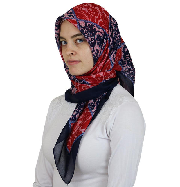 Ipekce scarf Red / Blue Turkish Yazma Square Hijab - Floral Red / Blue