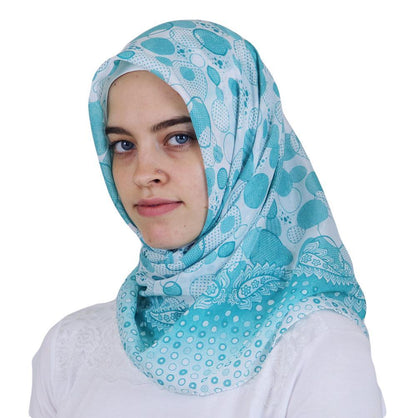 Ipekce scarf Turkish Yazma Square Hijab - Polka Dot Teal Green - Modefa